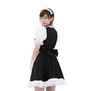 A&TCollection メイドさん コスチューム 黒x白 レディース H87-95cm