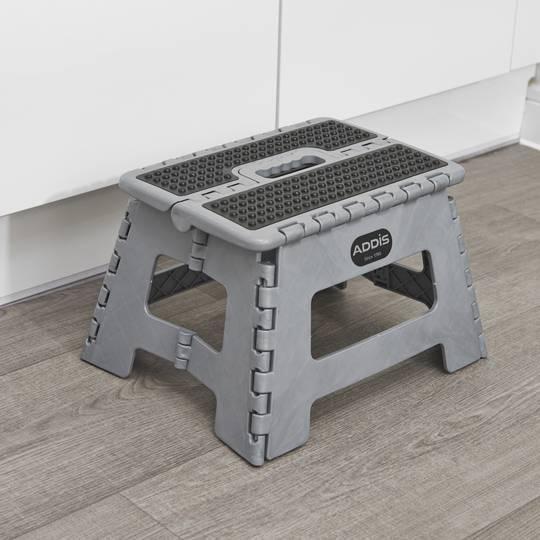 Folding Step Stool Tools Metallic Grey Amazon Co Uk