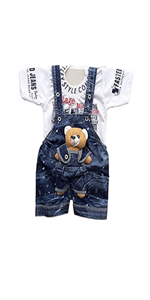 Half Sleeve Cotton Printed Denim Dungaree