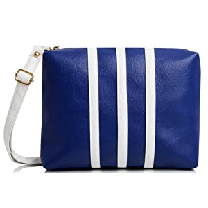 mammon Women s Sling Bag Blue   White - slg-3strip-Bw  Amazon.in ... 5bd44c251