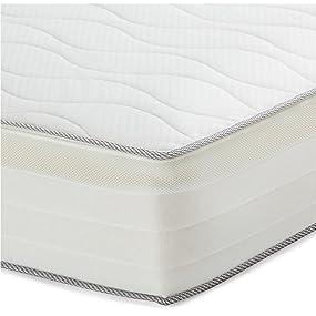 Amazon Basics, Colchón extra confort de muelles de 7 zonas, Blanco, 80 x 190 cm (H2)