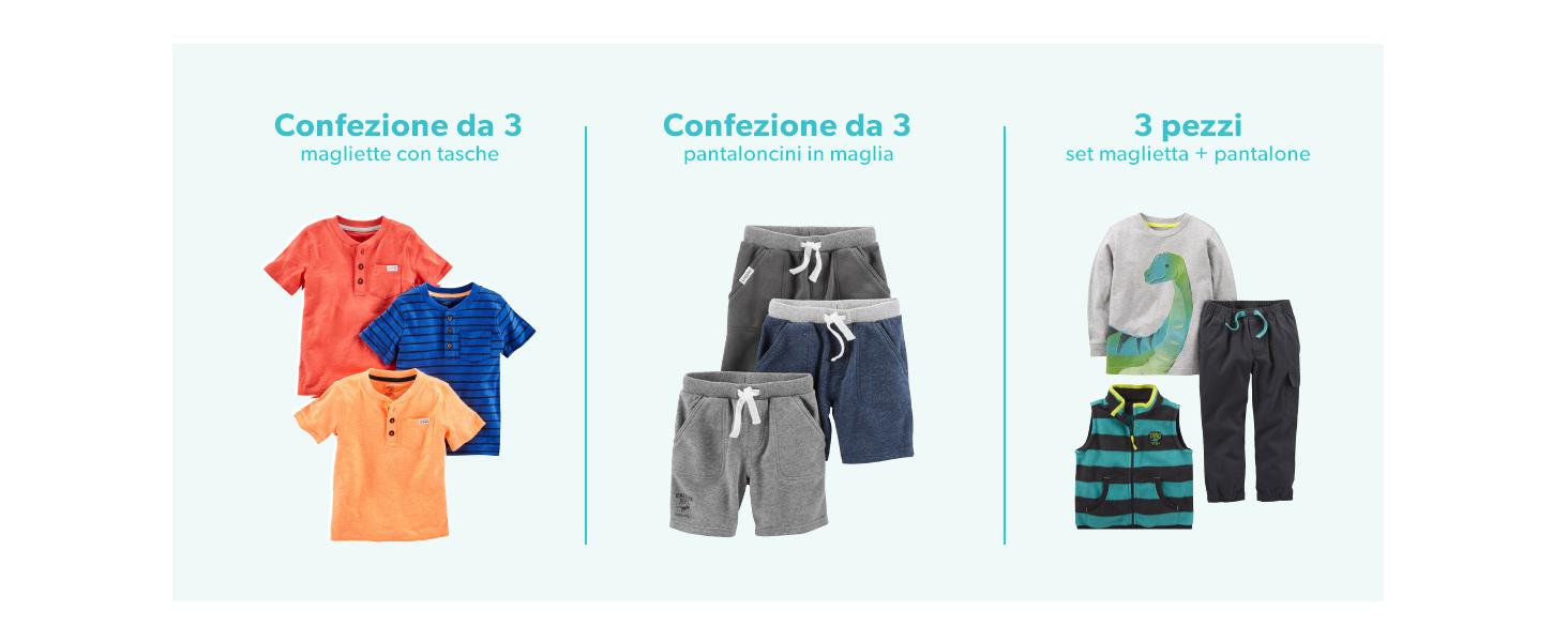 confezione da 3 Simple Joys by Carters Baby and Toddler Pigiama in cotone senza piedi