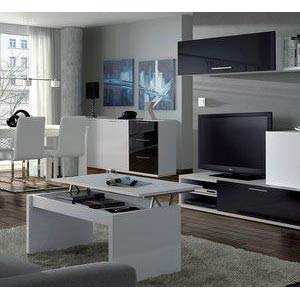Habitdesign 0F1638BO - Mesa de Centro elevable Modelo Zenit, mesita Mueble Salon Comedor Acabado en Roble Canadian - Blanco Brillo, Medidas: 102 cm ...