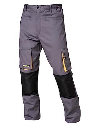 Wolfpack 15017085 Pantalon de Trabajo Gris/Amarillo Largo Talla 38 ...