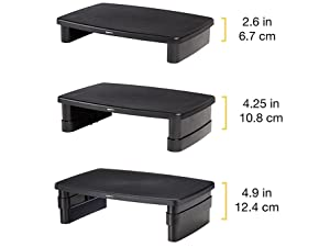 Included risers adjust to 3 heights