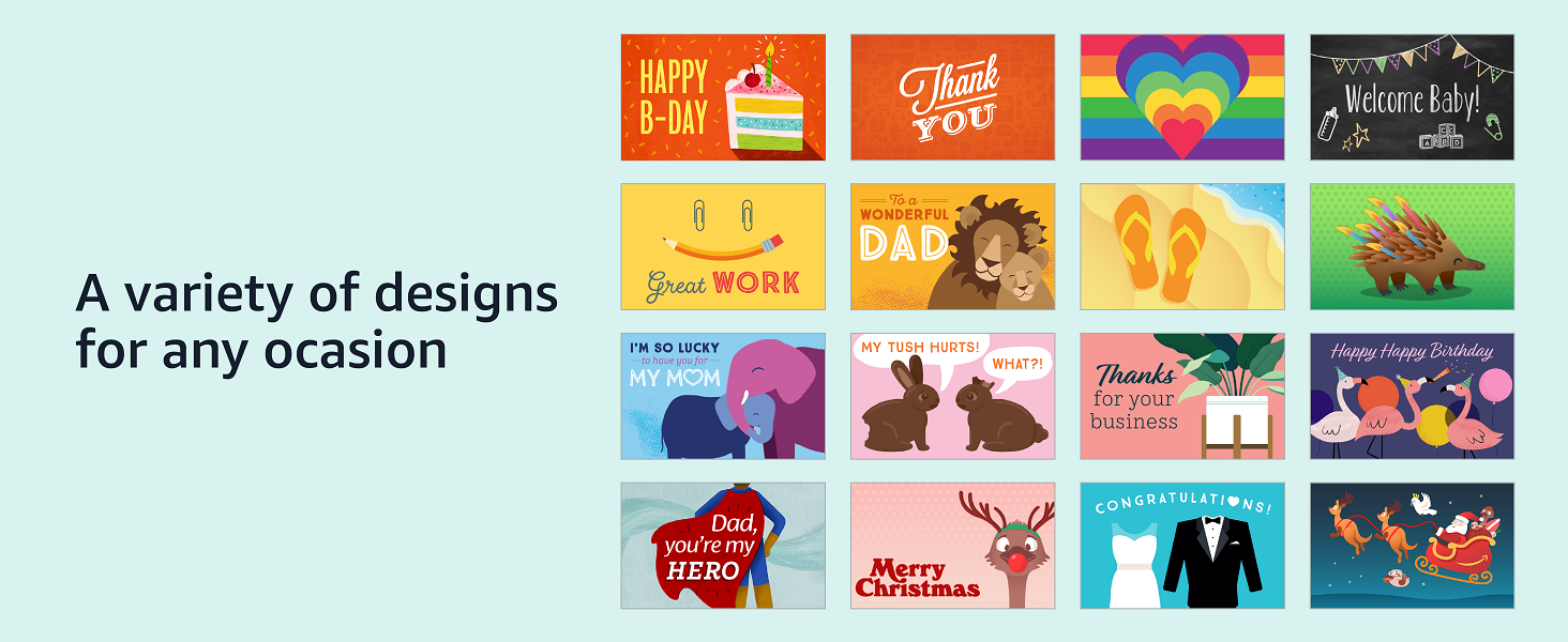 Amazon print at home gift cards - A variety of designs for any occasions