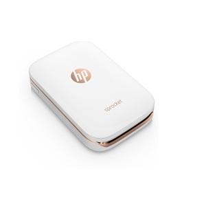 HP Sprocket - Impresora fotográfica portátil (impresión sin tinta, Bluetooth, 5 x 7.6 cm impresiones), color blanco y dorado