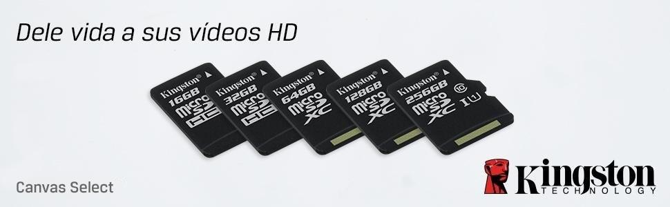 Kingston SDCS/32GB - MicroSD Canvas Select velocidades de UHS-I Clase 10 de hasta 80 MB/s Lectura (con Adaptador SD)