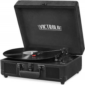 Victrola Vintage 3-Speed Bluetooth Suitcase Turntable with Speakers, Black Velvet