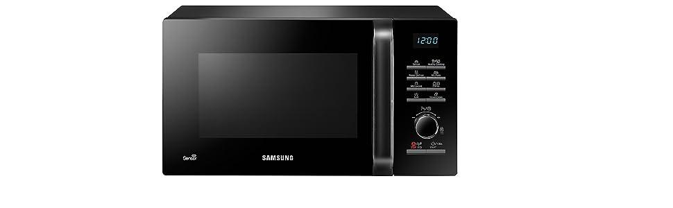 Samsung MG23H3125NK - Microondas con gril, 800W/1200W, 23 litros, con sensor de humedad, color negro