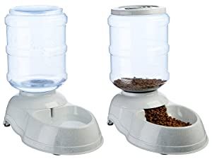 Amazon Basics gravity pet feeder and waterer with lid and clear storage