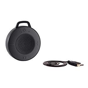 Amazon Basics Kabelloser Dusch Lautsprecher Mit 5 W Treiber Saugnapf Eingebautem Mikrofon Schwarz Audio Hifi