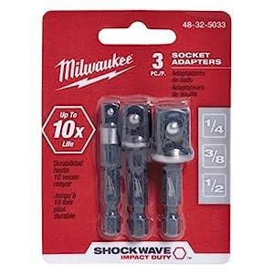 "Milwaukee  Shockwave 1//4/"" Hex Drive 3//8/"" Impact Socket Adapter 48325031"