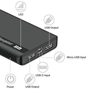 Energizer Powerbank 2.1A USB-A fast charging 10,000 mA hblack
