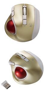 Digio2 Q 極小 トラックボール 2.4GHz ワイヤレスマウス 静音 5ボタン ゴールド 48360