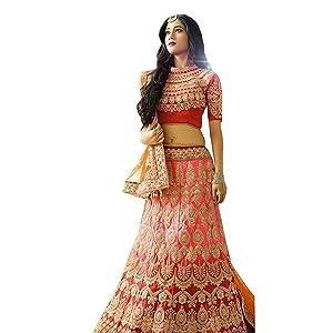 b61b8b36e1 Isha Enterprise Women's Silk Lehenga Choli(Red and Pink_40): Amazon ...