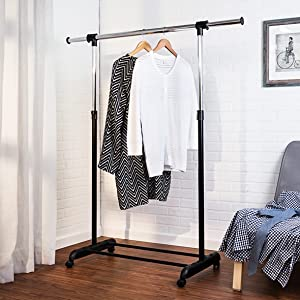 Amazon Com Honey Can Do Height Adjustable Rolling Garment Rack With Expandable Bar And Shoe Shelf Chrome 30 Lbs Home Kitchen