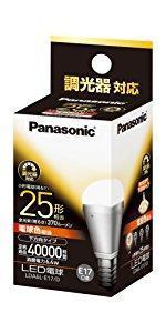 パナソニック LED電球 口金直径17mm 電球25W形相当 電球色相当(6.4W) 小型電球・下方向タイプ 調光器対応 密閉形器具対応 LDA6LE17D