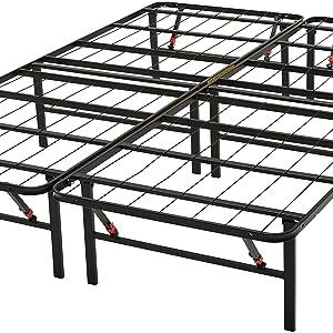 Amazon Basics - Somier fijo plegable, montaje sin herramientas, permite almacenar debajo de la cama, 140 x 200 cm