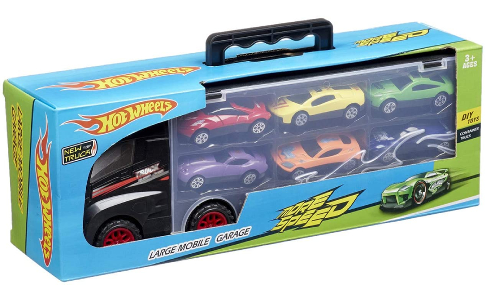 DIY Toys Hot Wheels Container Truck with 6 Mini Cars for Boys