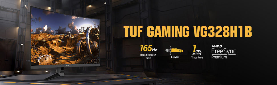 """ASUS TUF Gaming 32"""" 1080P Curved Monitor (VG328H1B) - Full HD, 165Hz  (Supports 144Hz), 1ms, Extreme Low Motion Blur, Speaker, Adaptive-Sync,  FreeSync Premium, VESA Mountable, HDMI, Tilt Adjustable: Buy Online at Best"""