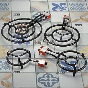 Garcima 5020085 Paellero gas butano, Negro, 200 mm