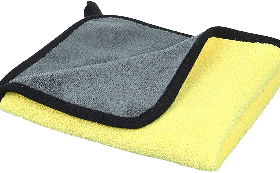 Microfiber Towel for Cars, 30×40 cm - Grey and Yellow