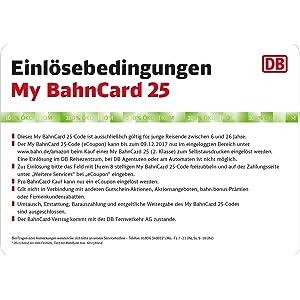 Rückseite My BahnCard 25-Geschenkkarte