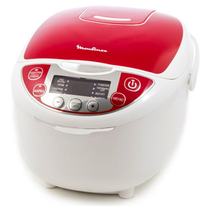 Moulinex 10 Cups Fuzzy Rice Cooker - MK705127, White & Red