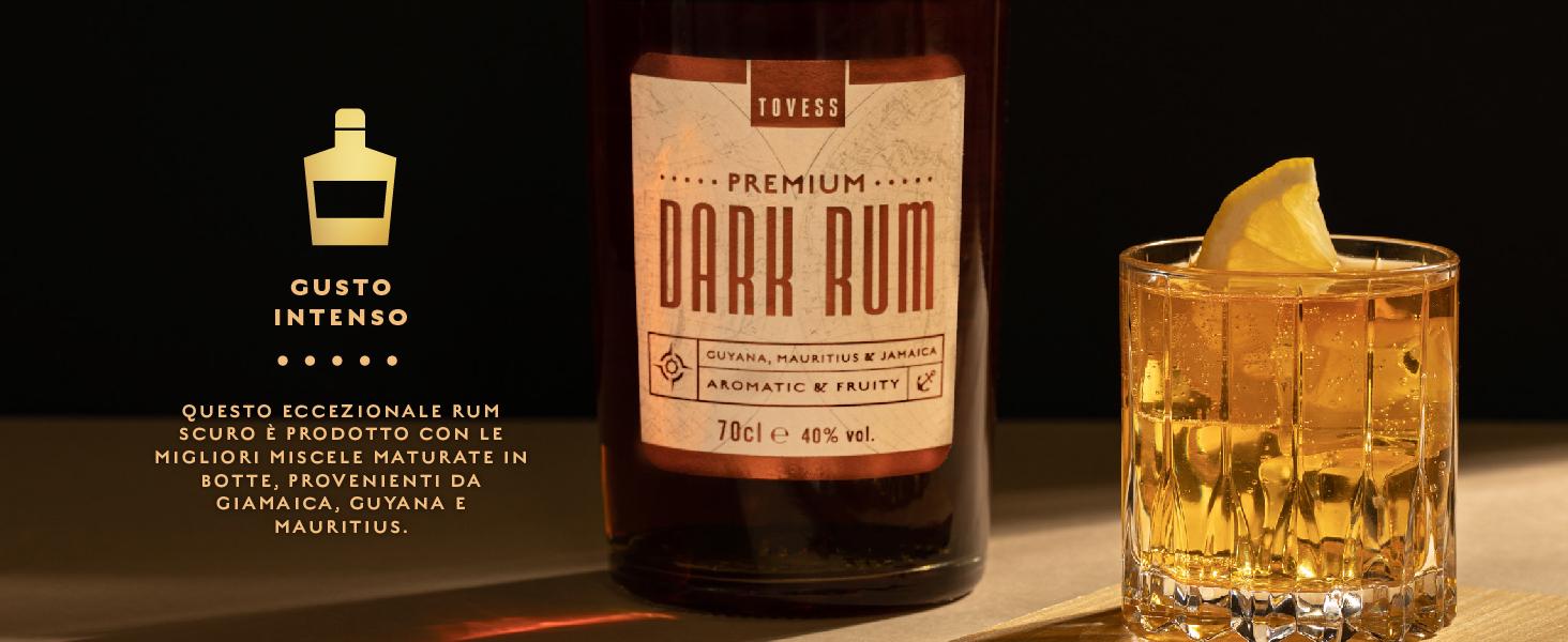Gusto intenso: Questo eccezionale rum scuro è prodotto con le migliori