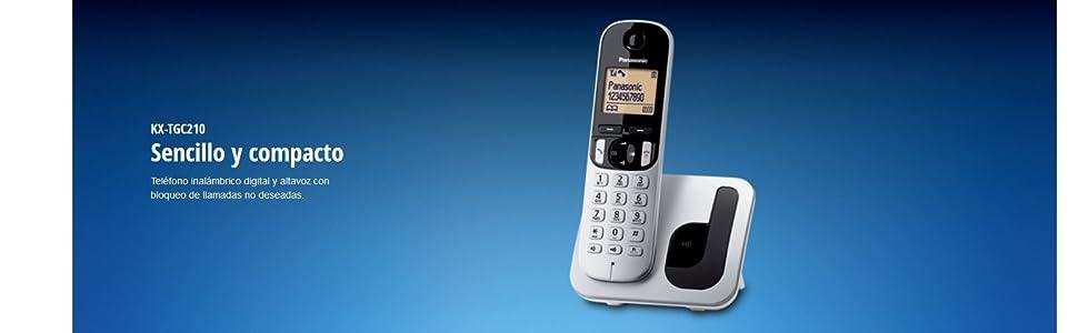 Panasonic KX-TGC212 - Teléfono Fijo Inalámbrico Duo Digital (LCD 1.6