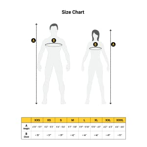 Size chart for Humble Bee ventilated beekeeping suit with round veil