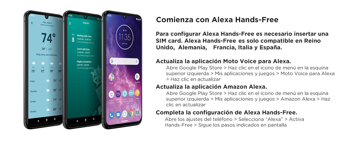 """Motorola One Zoom con Alexa Hands-Free (Pantalla 6,4"""" FHD+, Sistema de 4 cámaras, 128 GB/4 GB, Android 9.0, Dual SIM) Color Púrpura + Auriculares + ..."""