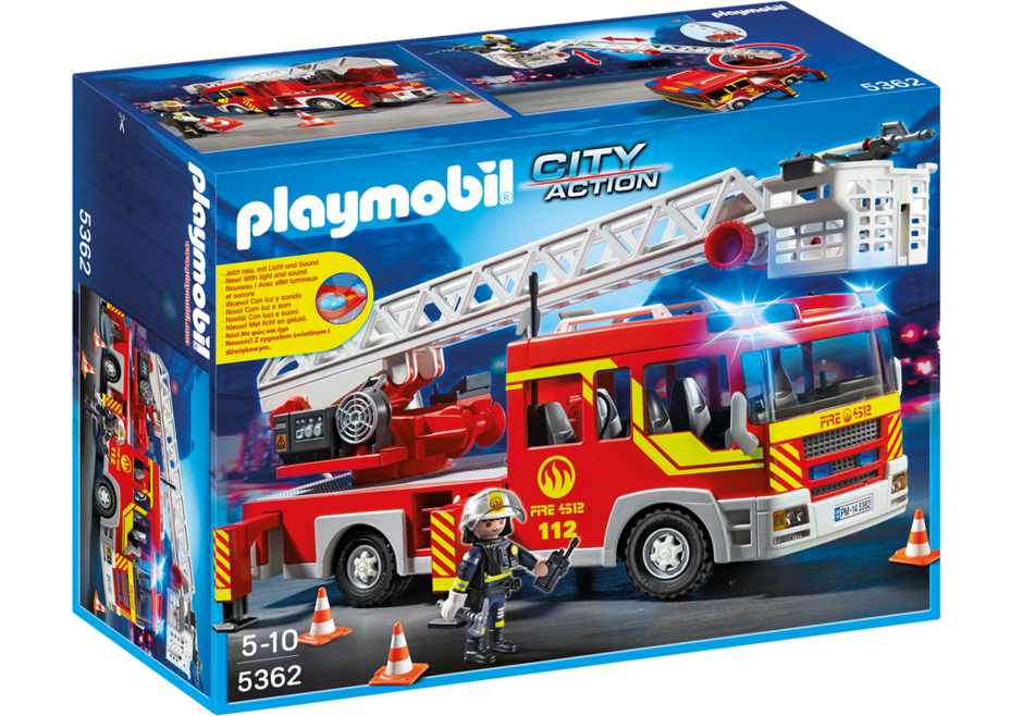 Playmobil Bomberos - Camión y escalera con luces y sonido