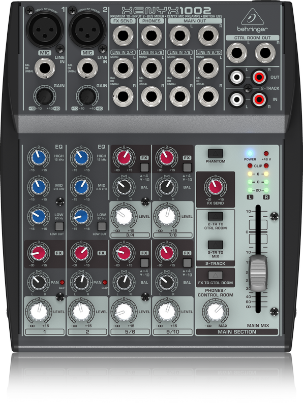 behringer xenyx 1002 premium 10 input 2 bus mixer with xenyx mic preamps and british. Black Bedroom Furniture Sets. Home Design Ideas