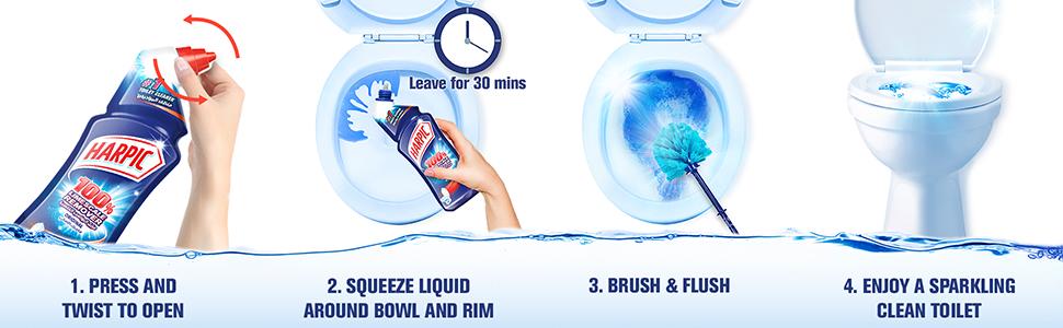 Harpic Liquid Toilet Cleaner - Limescale Remover Orginal