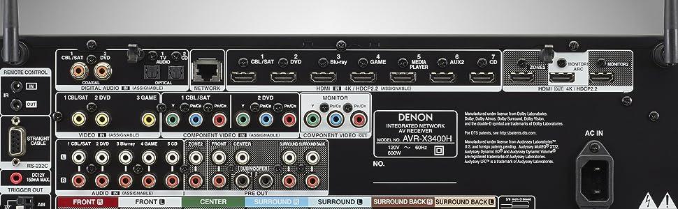 Denon - AVR-X3400H 7 2-Channel AV Surround Receiver