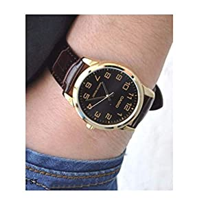 Casio Men's Black Dial Leather Band Watch - MTP-V001GL-1