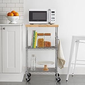 Basics In legno//cromato Carrello da cucina per microonde su ruote