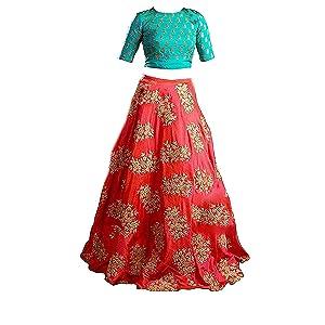 2ba4d6724b1 Yovi Empire Girl s Taffeta Silk Semi-Stitched Partywear Lehenga ...