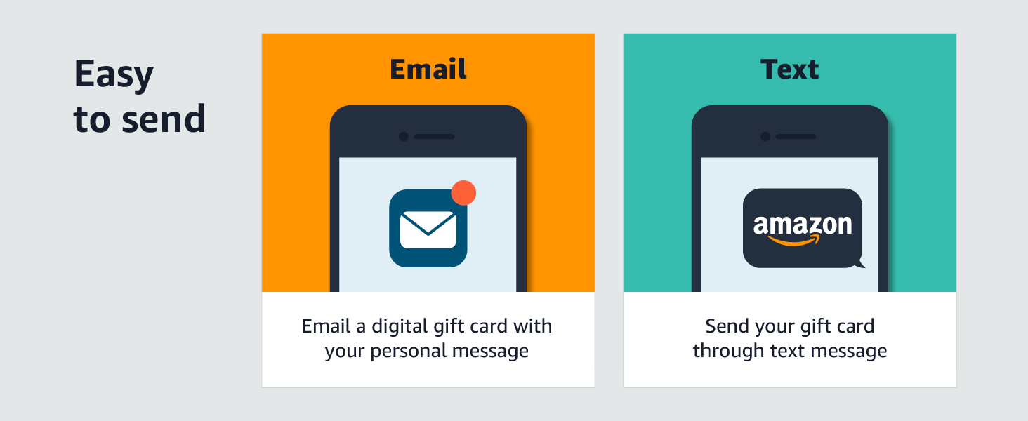 Amazon eGift card - Easy to send thorugh an email/text
