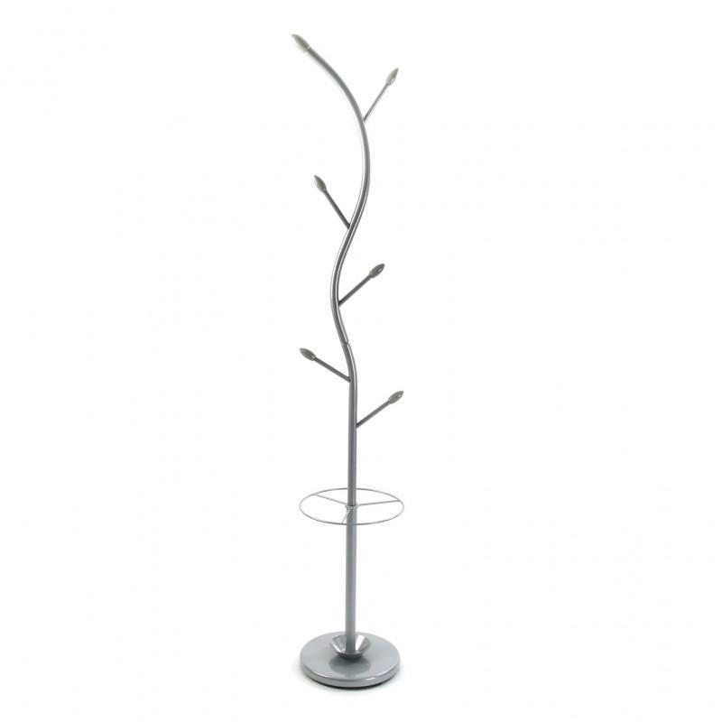 Versa Perchero de pie Plateado, Metal Lacado, 185 x 30 x 30 cm