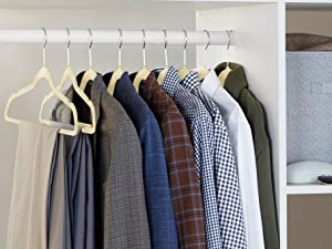 Amazon Basics Non-Slip Velvet Clothes Hangers for suits, skirts, pants and shirts