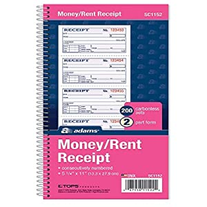 amazon com adams money and rent receipt book 2 part carbonless 5