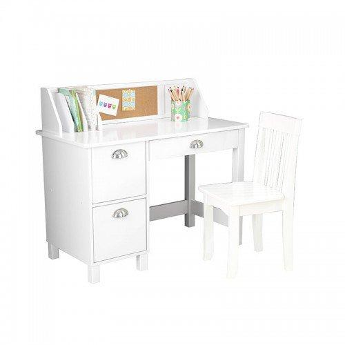 Amazon Com Kidkraft Kids Study Desk With Chair White