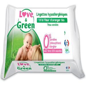 Love /& Green Lingettes Hypoallerg/éniques Fleur dOranger Bio 64 Pi/èces