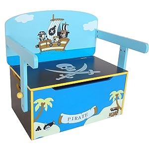 Kiddi Style Caja Almacenaje Juguetes + Banco y Mesa + Silla – Diseño Piratas - Convertible - Madera - par ninos: Amazon.es: Bebé