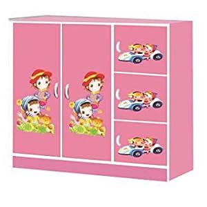 Wardrobe for Kids, 2 Door, Pink, Wr 927
