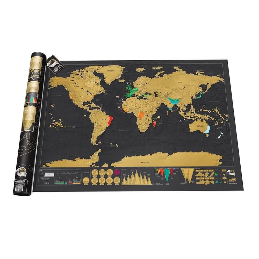 Scratch Map Deluxe Edition Personalised World Map By Luckies - Scratch off us state maps with pencil 25 pack