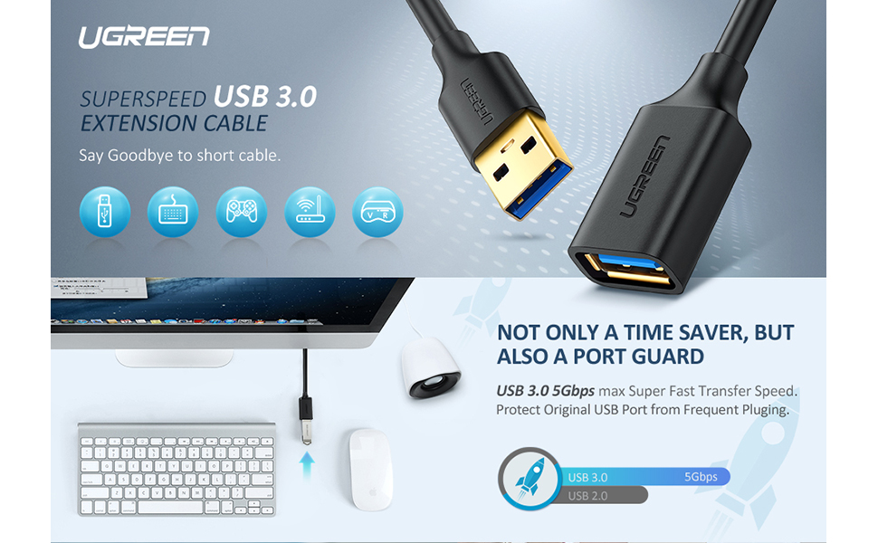 Xbox Card Reader Mouse USB 3.0 Extension Cable 15ft//5m,Yeung Qee Superspeed USB 3.0 Type A Male to A Female Extension Cord Printer etc Data Transfer USB Flash Drive Playstation Keyboard
